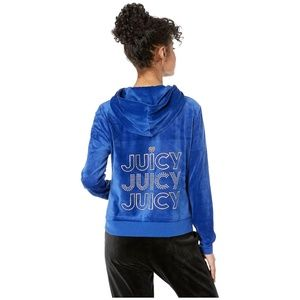 Juicy Couture Cobalt Velour Glitter Logo Hoodie Md